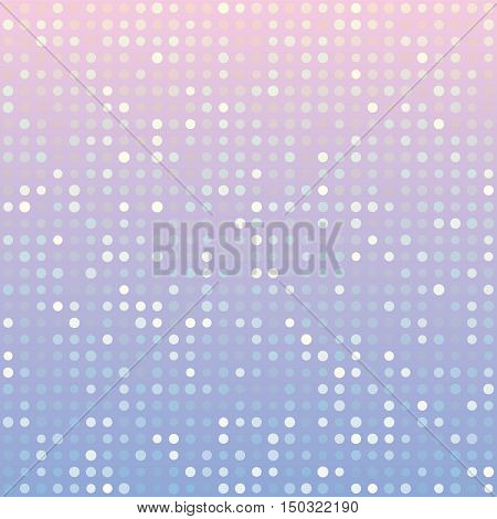 Blue serenity and pink rose quartz gradient background of multiples dots. Fashion trends circles backdrop. Vector illustration. May use for modern background, digital, card, posters, website template