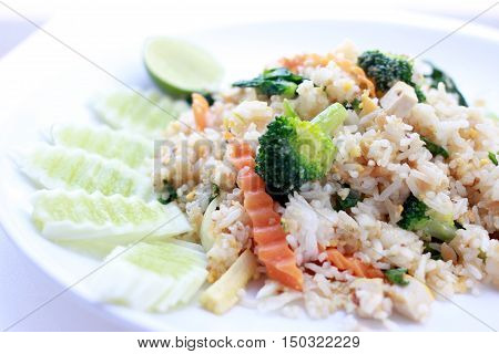 Fried Rice With Vegetable On The White Plate With Withe Background. Vegetarian Food, Healthy Food, T