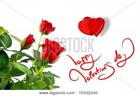 red roses with hearts and greetings for valentines day