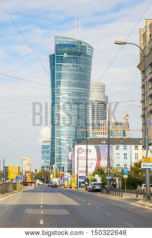 WARSAW POLAND-FEBRUARY 14 2016 City life in Warsaw. The development of modern construction and municipal infrastructure in the Polish capital