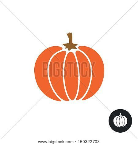 Pumpkin icon. Color isolated on white. Simple flat style pumpkin illustration. Harvest thanksgiving or halloween theme.