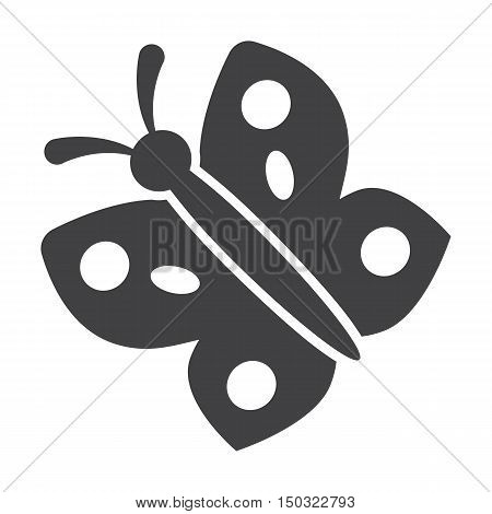 butterfly black simple icon on white background for web design