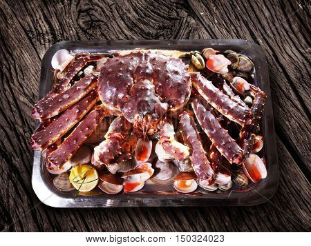 Seafood- king crab and clams.