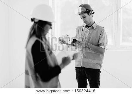 Maintenance Engineering On Construction Site Checking Light