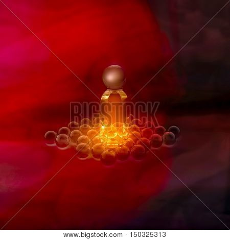 Perfume in a glass bottles and glass beads on gold. 3D illustration