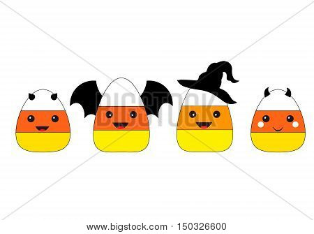 Candy Corn Vector Clipart Set. Candy Corn in Halloween costumes. Candy Corn Cartoon Character. Halloween candy corn cartoon characters set isolated on white.