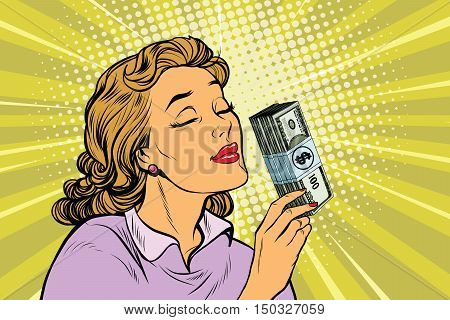 businesswoman smelling the scent of money, pop art retro vector illustration. Finance and business