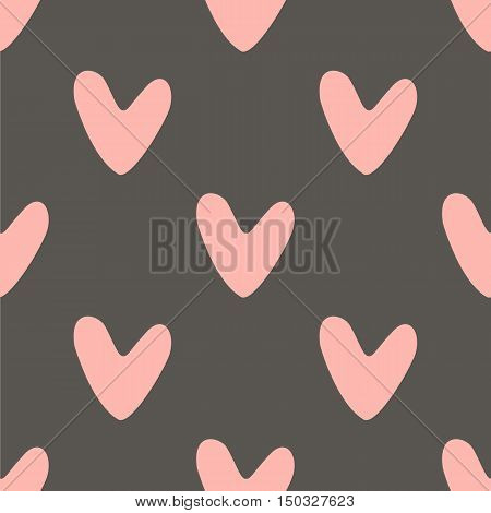 Seamless ector pattern with pink hearts on grey background