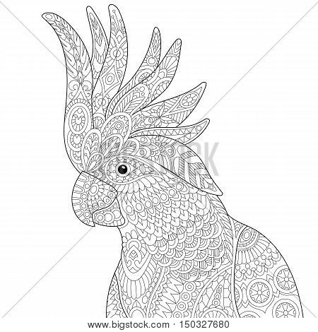 Stylized cockatoo (kakadu) parrot isolated on white background. Freehand sketch for adult anti stress coloring book page with doodle and zentangle elements.