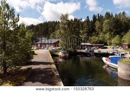 Fishing Port At Lake Vaettern In Sweden