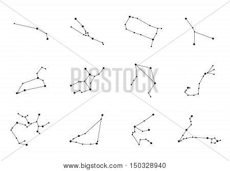 Vector constellations. Zodiac Constellations Set. Space and Stars. Leo Virgo Scorpio Libra Aquarius Sagitarius Pisces Capricorn Taurus Aries Gemini Cancer.