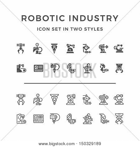Set icons of robotic industry in two styles isolated on white. Vector illustration