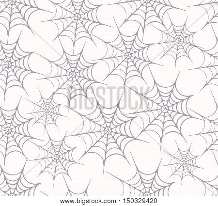 Halloween seamless background with web spider grey. Seamless pattern. Halloween invitation. Happy Halloween Poster. Vector illustration with spider web