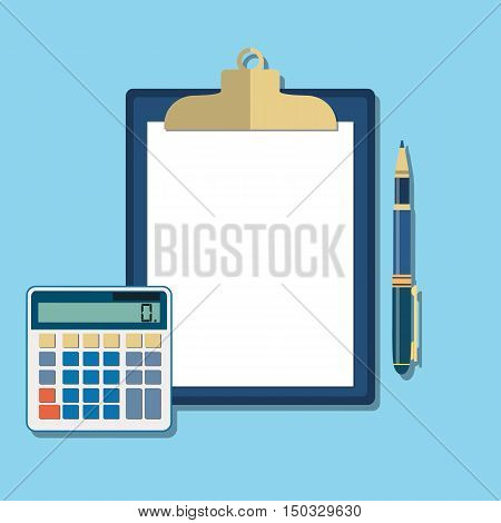 Clean sheet of paper for calculations. Calculator, clipboard, pen. Income, taxes, data analytics, planning, report. Calculation concept. Vector illustration in flat design