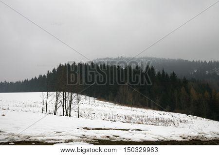 Peak Szczeliniec Wielki in Mountains Table, Poland  in misty, gloomy winter day. Pasterka village in Poland. Beginning of winter.