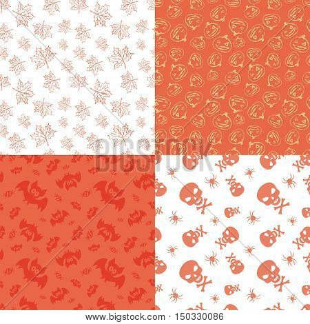 Set of 4 halloween seamless backgrounds.Vector Halloween patterns. Halloween seamless background. Halloween textile print. Vector halloween wrapping paper pattern. Textile Halloween pattern.