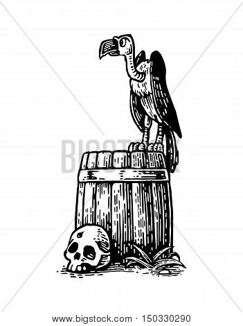 Griffin sitting on barrel with skull. For card and poster Day of the Dead Dia de los Muertos. Vector hand drawn vintage engraving. Isolated on white background