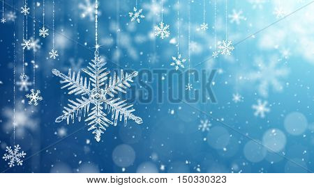 Macro snowflake and fallen defocused snowflakes on blue background - 3D Rendering