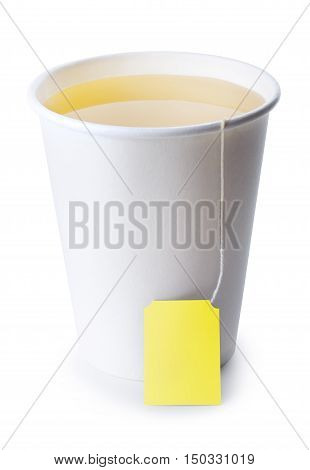 green or herbal tea in take away cup isolated on white background. Opened take-out paper cup of tea isolated on white. Green or herbal tea. Take-out teacup with tea and yellow label isolated on white
