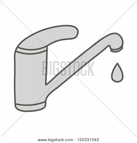 Save water sign. Grey faucet. Dripping tap with drop line icon. Water faucet with large droplet of water.