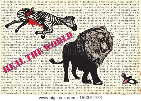 An hand drawn vector in the comic style - Lion the king. Heal the World placard. Crying predator lion and dead zebra.