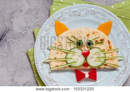 Funny breakfast for kids with cat shape sandwich