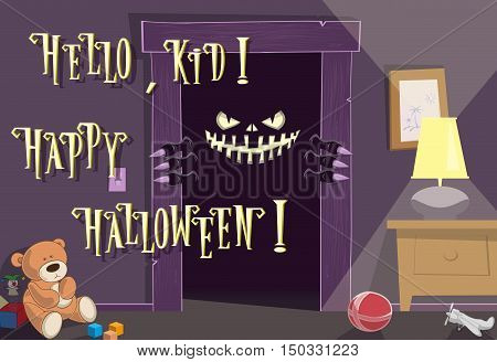Happy Halloween background. Night. Spooky nightmare monster looking scary eyes inside kids room from dark door. Cute toys. Concept design holiday poster banner flyer or cards. Vector illustration