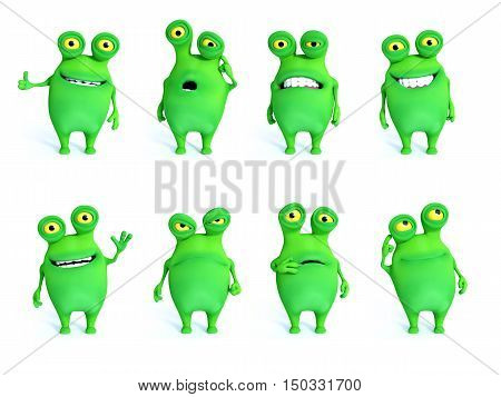 Collection of charming green monsters in different moods and poses 3D rendering. White background.