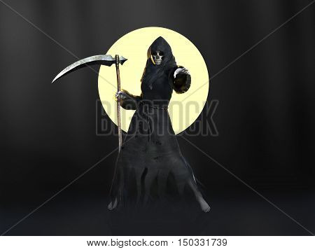 Female reaper or witch dressed in a black cloak casting a spell in front of a full moon 3D rendering. Dark background.