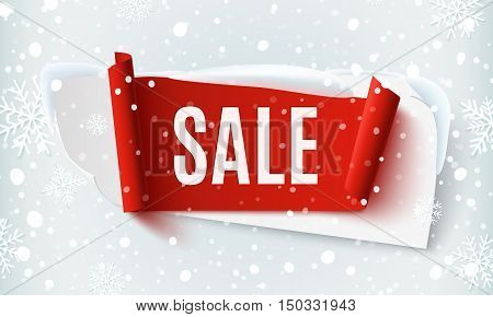 Sale, abstract banner on winter background with snow and snowflakes. Flyer template. Vector illustration.