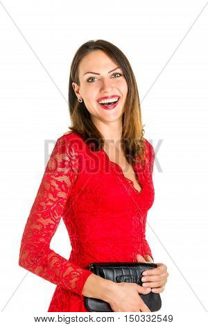 Business woman portrait on blue white background. Red dress.