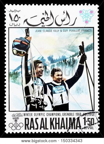 RAS AL KHAIMA - CIRCA 1968 : Cancelled postage stamp printed by Ras Al Khaima, that shows  Jean Claude Killy and Guy Perillat.