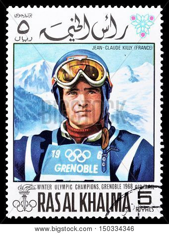 RAS AL KHAIMA - CIRCA 1968 : Cancelled postage stamp printed by Ras Al Khaima, that shows  Jean Claude Killy.