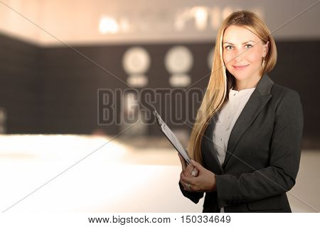 The Beautiful smiling business woman portrait. Smiling female receptionist