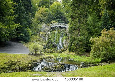 The devil bridge in the mountain park Wilhelmshoehe in  Kassel