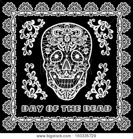 Day of the Dead and Mexican Dia Los Muertos card with white lace sugar skull and flower decorations on black background
