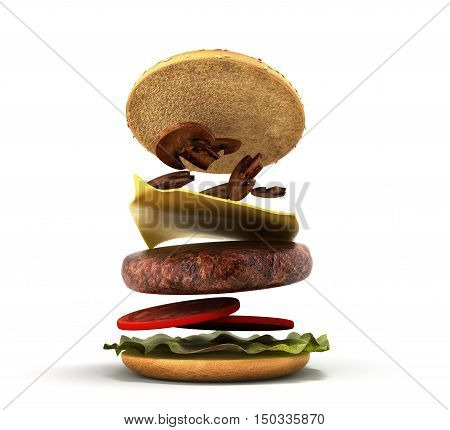 Opening Of The American Hamburger 3D Render On White