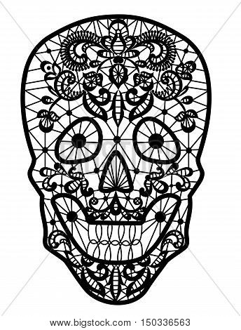 Day of the Dead and Mexican Dia Los Muertos decoration. Black lace sugar skull isolated on white