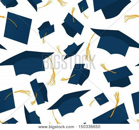 Blue throwing graduation caps on white background Seamless pattern. Vector illustration. Higher education celebration anniversary symbol pattern. Cartoon flat design. Academic hat at the air. wrapping