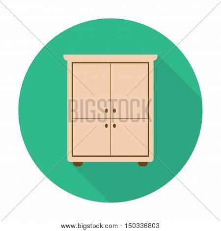 closet flat icon with long shadow for web design
