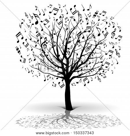 Illustration silhouette music tree on a white background.