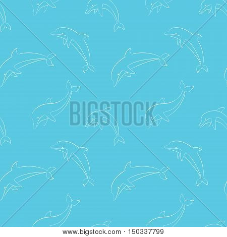 Vector seamless pattern with dolphins/Jumping dolphins contour seamless pattern/Dolphins vector illustration/Textile dolphins pattern/Wrapping paper dolphins background/Dolphins repeating image.
