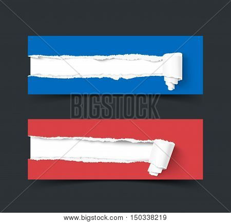 Set of two vector torn paper banners with paper rolls isolated on dark background. Color ripped pieces of paper isolated on white background.