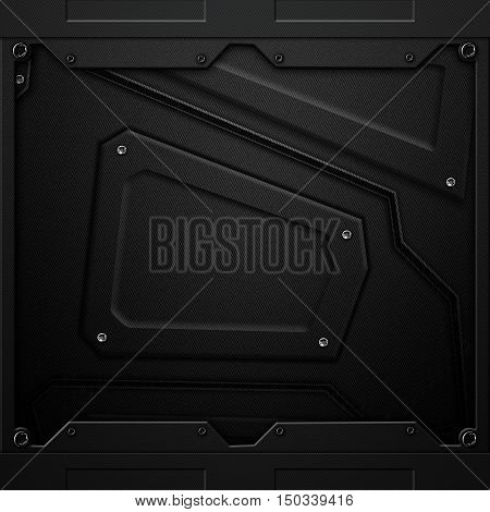 Scifi Wall. Black Carbon Fiber Wall And Rivet. Metal Background And Texture.