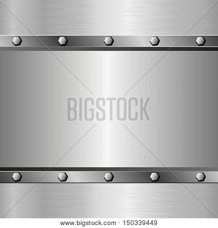 metallic background with texture and bolts - vector illustration
