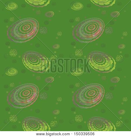 Abstract geometric seamless background. Regular concentric circles and ellipses pattern and various round elements in violet, purple and light green shades on darker green.