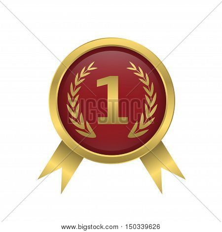First place icon Golden number one Winner award label Vector illustration