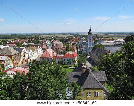 Summer View of Javornik Town from Jansky Hill (Jansky Vrch) Castle Olomouc Region Czech Republic