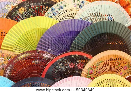 Colourful traditional spanish fans in Sevilla, Spain