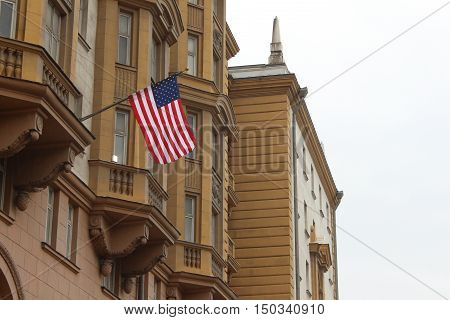 US Flag hanging on the embassy building in Moscow